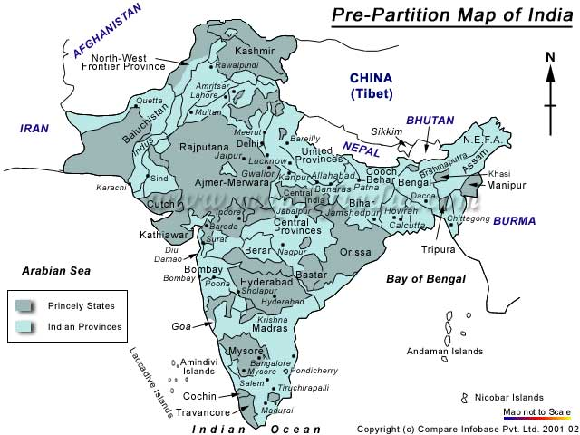 Map of India Pre-Partition